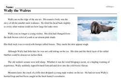 Print <i>Wally the Walrus</i> reading comprehension.