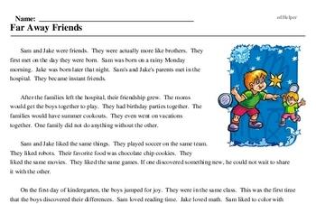 Print <i>Far Away Friends</i> reading comprehension.