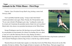 Print <i>Animals in the White House - First Dogs</i> reading comprehension.