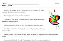 Print <i>Zoe's Colors</i> reading comprehension.