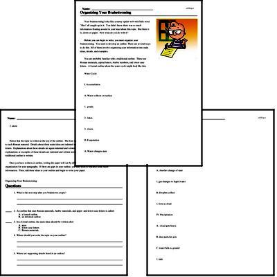Print <i>Organizing Your Brainstorming</i> reading comprehension.