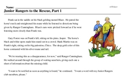 Print <i>Junior Rangers to the Rescue, Part 1</i> reading comprehension.