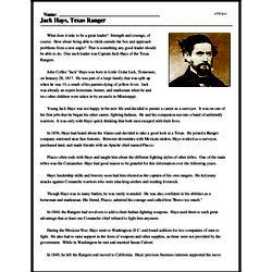 Print <i>Jack Hays, Texas Ranger</i> reading comprehension.