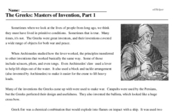 Print <i>The Greeks: Masters of Invention, Part 1</i> reading comprehension.