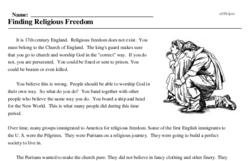 Print <i>Finding Religious Freedom</i> reading comprehension.
