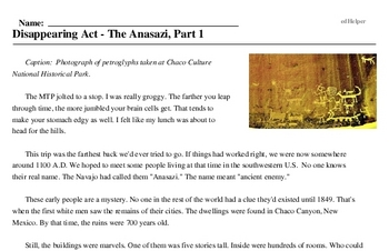 Print <i>Disappearing Act - The Anasazi, Part 1</i> reading comprehension.