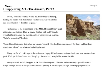 Print <i>Disappearing Act - The Anasazi, Part 2</i> reading comprehension.