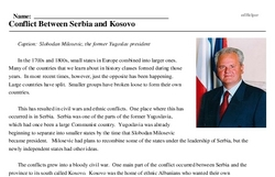 Print <i>Conflict Between Serbia and Kosovo</i> reading comprehension.