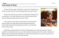 Print <i>Your Sense of Taste</i> reading comprehension.