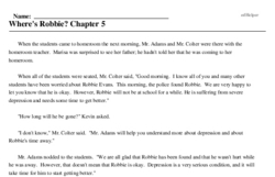 Print <i>Where's Robbie? Chapter 5</i> reading comprehension.