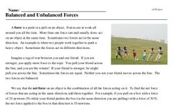 Print <i>Balanced and Unbalanced Forces</i> reading comprehension.