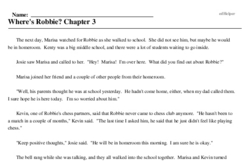 Print <i>Where's Robbie? Chapter 3</i> reading comprehension.