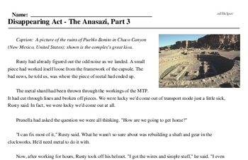 Print <i>Disappearing Act - The Anasazi, Part 3</i> reading comprehension.