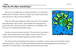 Print <i>Why Do We Have Earth Day?</i> reading comprehension.