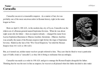 Print <i>Caracalla</i> reading comprehension.