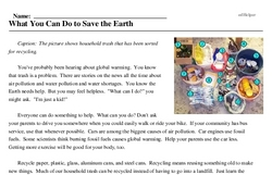 Print <i>What You Can Do to Save the Earth</i> reading comprehension.
