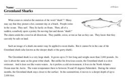 Print <i>Greenland Sharks</i> reading comprehension.