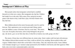 Print <i>Immigrant Children at Play</i> reading comprehension.