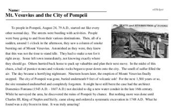 Print <i>Mt. Vesuvius and the City of Pompeii</i> reading comprehension.