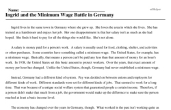 Print <i>Ingrid and the Minimum Wage Battle in Germany</i> reading comprehension.