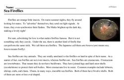 Print <i>Sea Fireflies</i> reading comprehension.