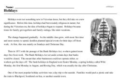 Print <i>Holidays</i> reading comprehension.