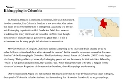 Print <i>Kidnapping in Colombia</i> reading comprehension.