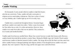 Print <i>Candle Making</i> reading comprehension.