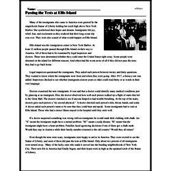 Print <i>Passing the Tests at Ellis Island</i> reading comprehension.