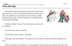 Print <i>Sweet Revenge</i> reading comprehension.