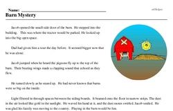 Print <i>Barn Mystery</i> reading comprehension.
