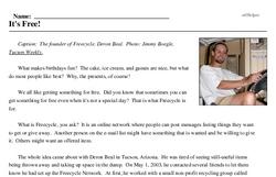 Print <i>It's Free!</i> reading comprehension.