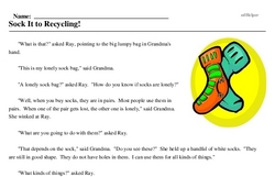 Print <i>Sock It to Recycling!</i> reading comprehension.