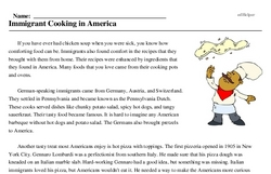 Print <i>Immigrant Cooking in America</i> reading comprehension.