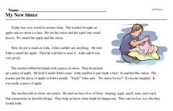 Print <i>My New Sister</i> reading comprehension.