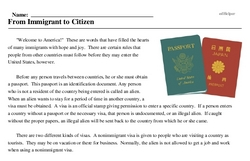 Print <i>From Immigrant to Citizen</i> reading comprehension.