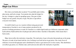 Print <i>High Gas Prices</i> reading comprehension.