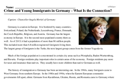 Print <i>Crime and Young Immigrants in Germany - What Is the Connection?</i> reading comprehension.