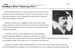 Print <i>Building a Better Mousetrap, Part 1</i> reading comprehension.