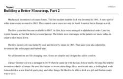 Print <i>Building a Better Mousetrap, Part 2</i> reading comprehension.