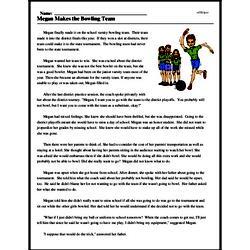 Print <i>Megan Makes the Bowling Team</i> reading comprehension.