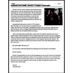 Print <i>Samantha Reed Smith, America's Youngest Ambassador</i> reading comprehension.