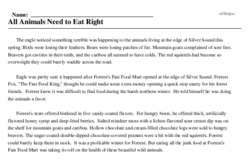 Print <i>All Animals Need to Eat Right</i> reading comprehension.