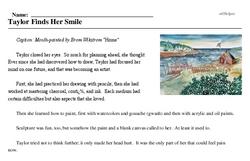 Print <i>Taylor Finds Her Smile</i> reading comprehension.