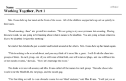 Print <i>Working Together, Part 1</i> reading comprehension.