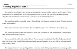 Print <i>Working Together, Part 2</i> reading comprehension.