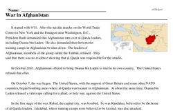 Print <i>War in Afghanistan</i> reading comprehension.
