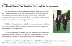 Print <i>President Clinton, Vice President Gore, and the Environment</i> reading comprehension.