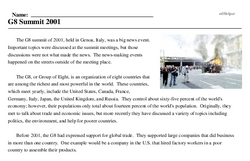 Print <i>G8 Summit 2001</i> reading comprehension.