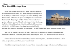 Print <i>New World Heritage Sites</i> reading comprehension.